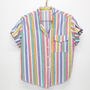 Vintage Bright Color Striped Button Up Shirt